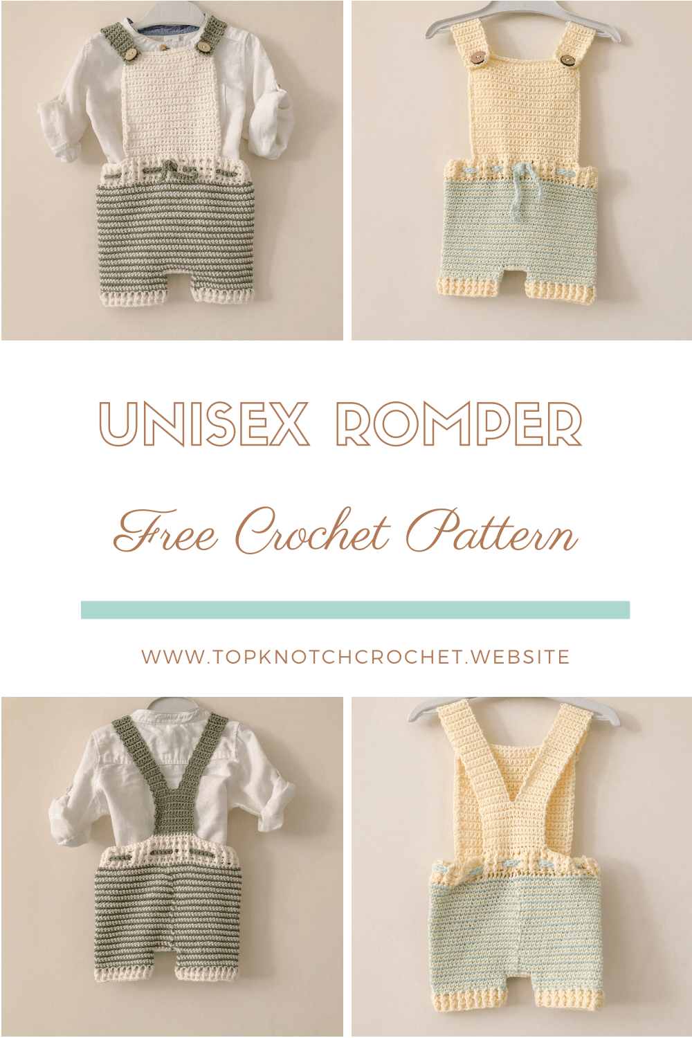 Read more about the article Free Crochet Pattern – Unisex Baby Romper