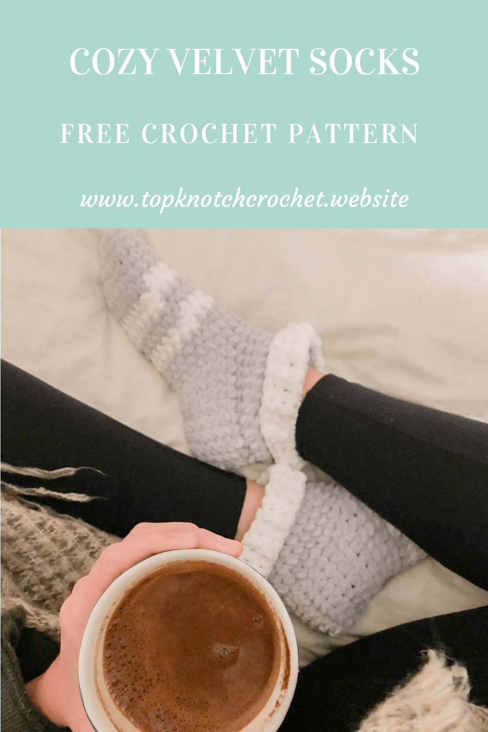 Cozy velvet crochet socks- Free pattern and photo tutorial.