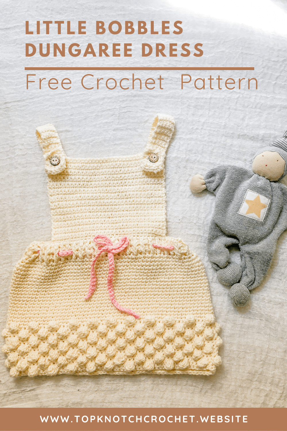 Little Bobbles Dungaree Dress – Free Crochet  Pattern