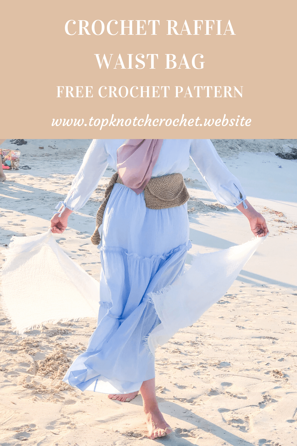 Crochet Raffia waist Bag- Free pattern and Photo tutorial