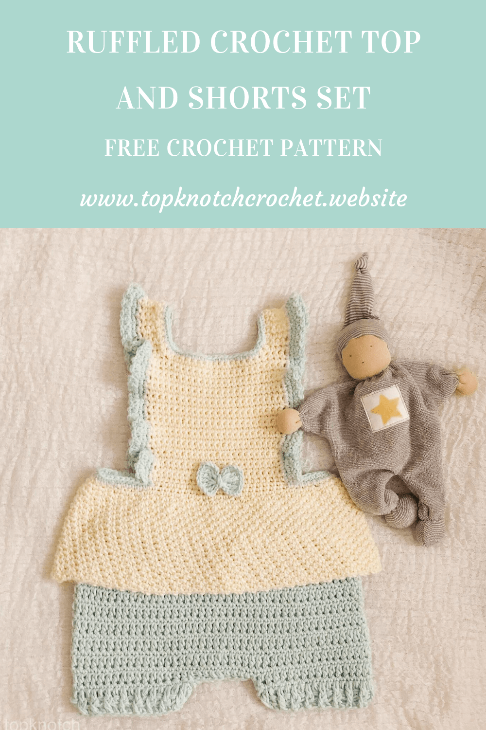 Ruffled Crochet top and Shorts set – Free pattern.