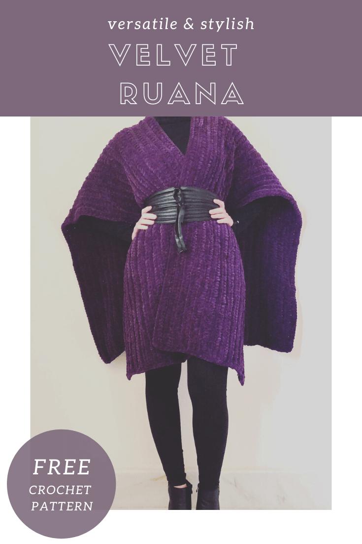 Velvet Crochet Ruana / wrap shawl Free pattern
