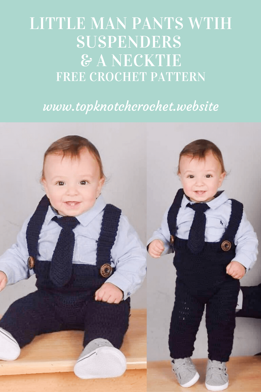Little Man Crochet pants and Necktie