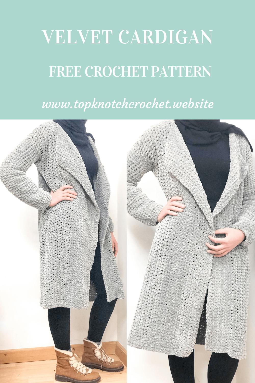 Oversized Crochet Cardigan with Cozy Velvet Yarn