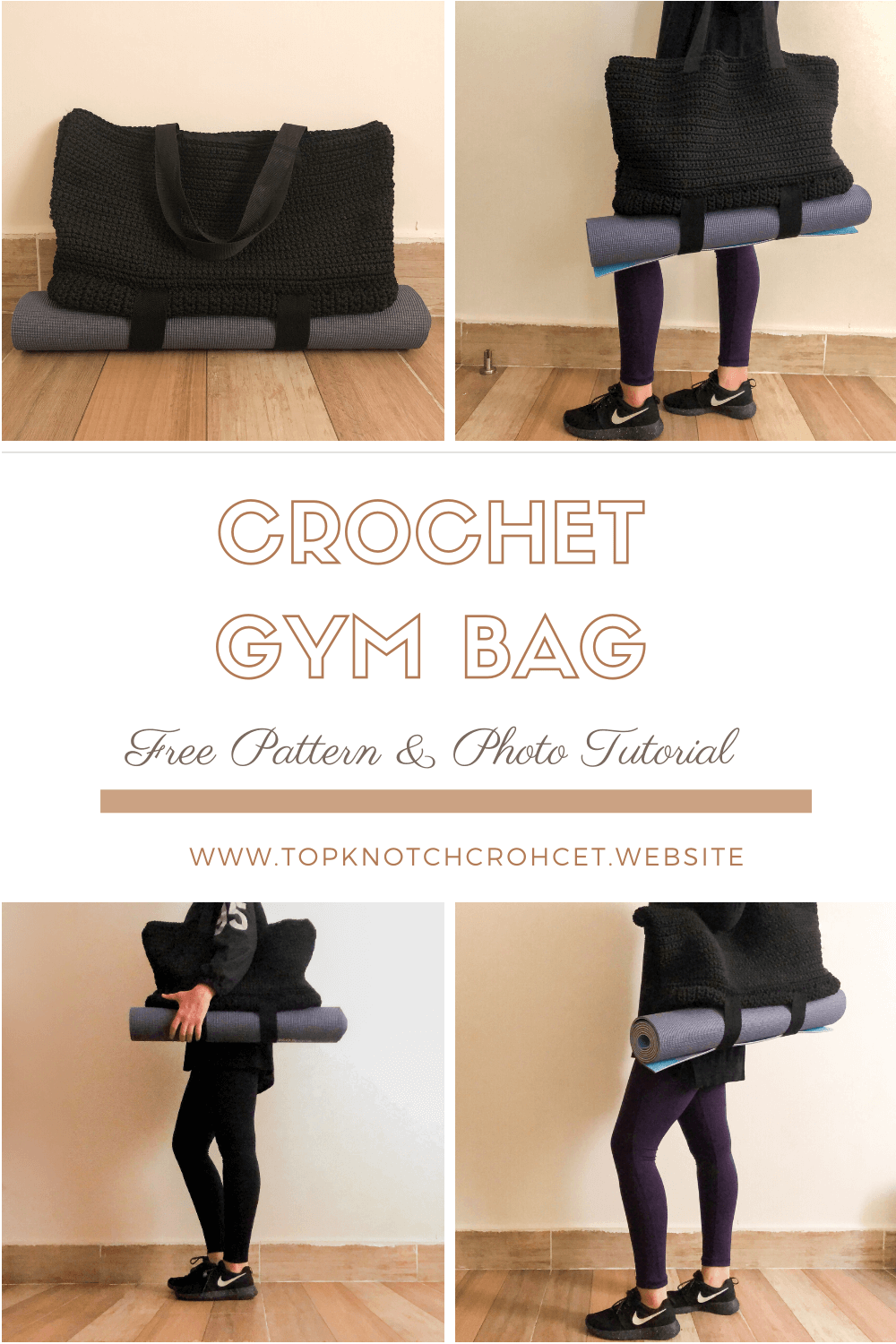 Crochet Gym Bag- Free Pattern & Photo Tutorial
