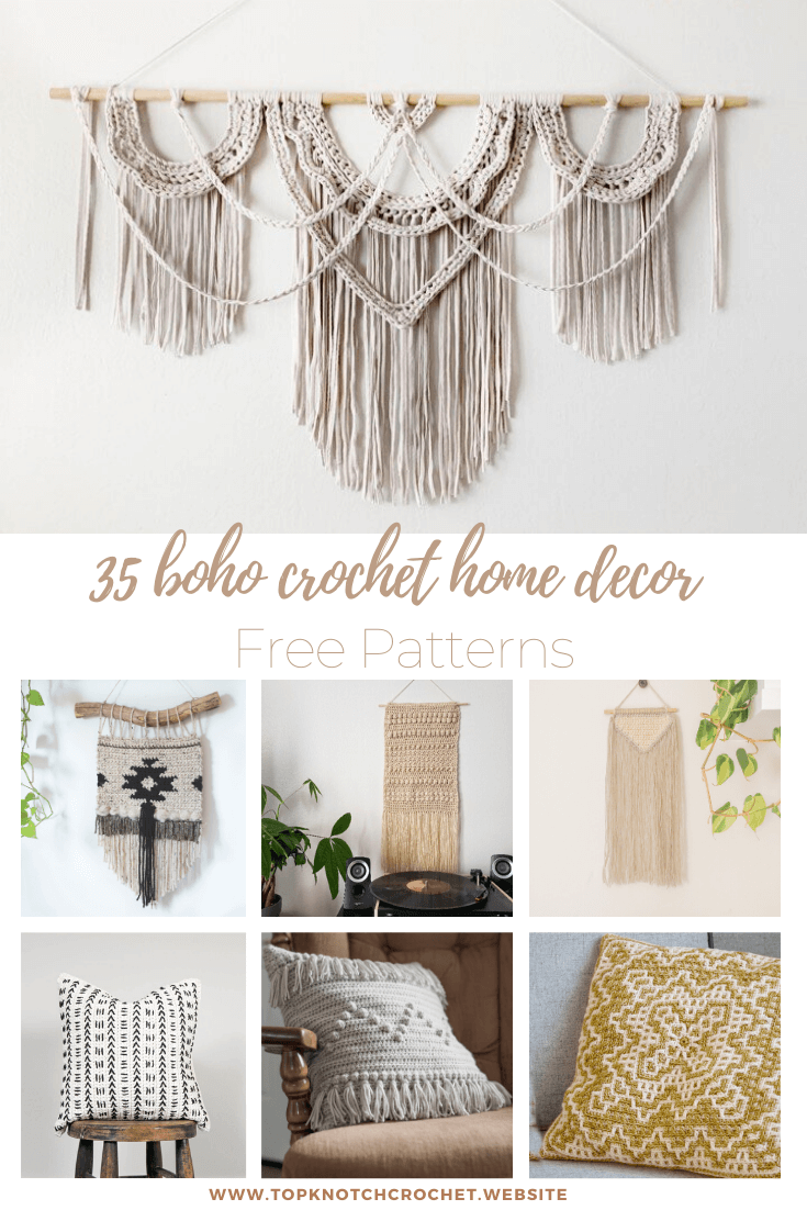 35 Boho Crochet Home Decor Free patterns