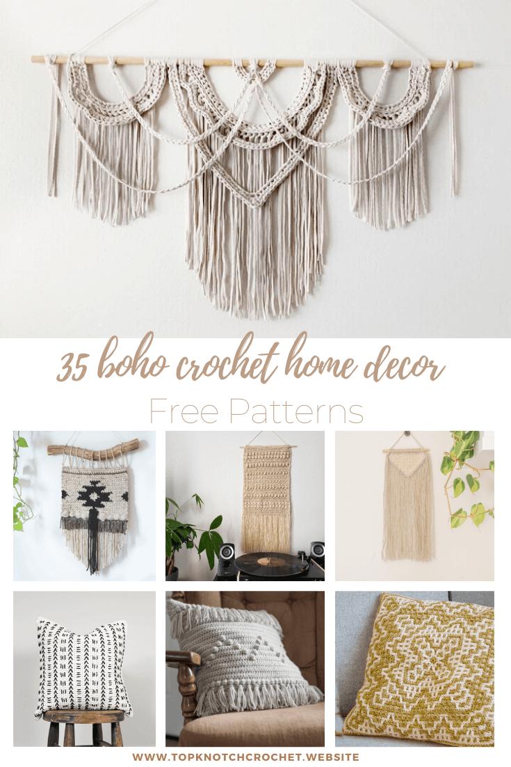 35 Boho Crochet Home Decor Free patterns