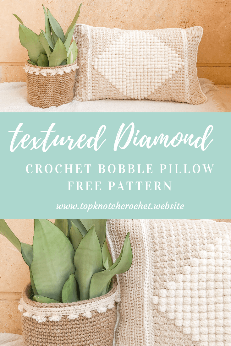 Textured Crochet Pillow – Diamond Bobble Pillow Free Pattern